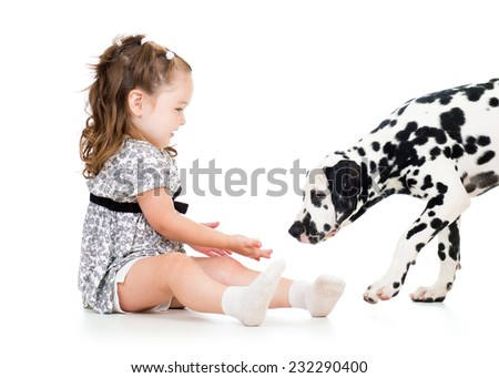 child girl playing with dalmatian puppy dog - stock photo
