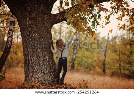 child girl playing with old oak tree in autumn forest - stock photo
