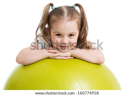 Child girl with  gymnastic ball isolated - stock photo