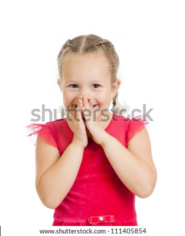 child girl with hands close to face isolated on white background - stock photo