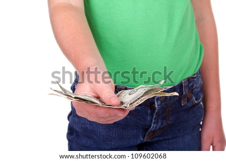 Child giving money, closeup, isolated on white - stock photo