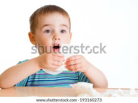 Child going to wipe with tissue