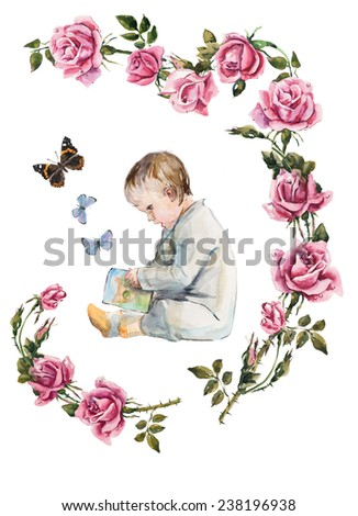 Child grows and develops. Roses branch. Baby look in the book. Developing occupations. Watercolor hand drawn illustration - stock photo