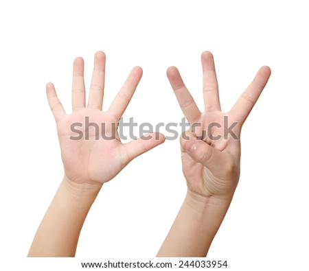 Child hand is showing eight fingers isolated on white background - stock photo