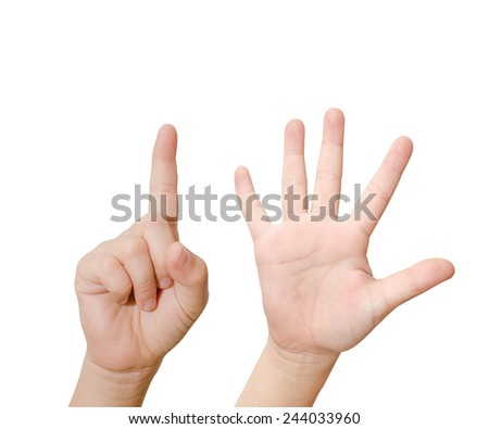 Child hand is showing six fingers isolated on white background - stock photo
