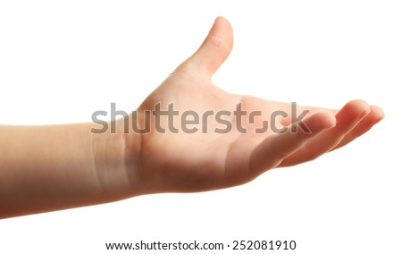 Child hand isolated on white - stock photo
