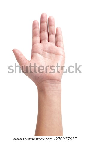 Child hand isolated on white background.