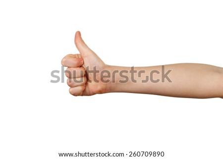 Child hand on white background - stock photo