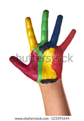 Child hands painted with watercolors, on white background
