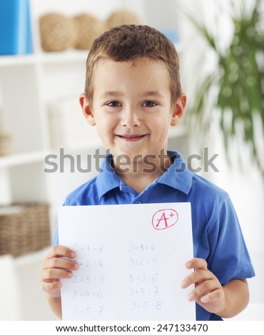 Child happy with his result - stock photo