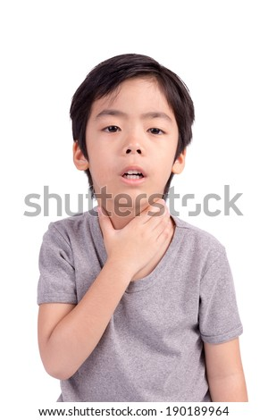 Child have sore throat sick. Isolated on White Background - stock photo