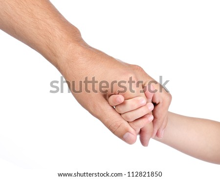 Child hold the hand of father isolated