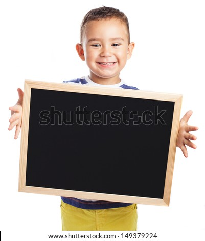 child holding a chalkboard on white background - stock photo