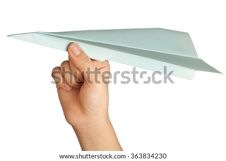 Child holding a paper plane isolated on white background