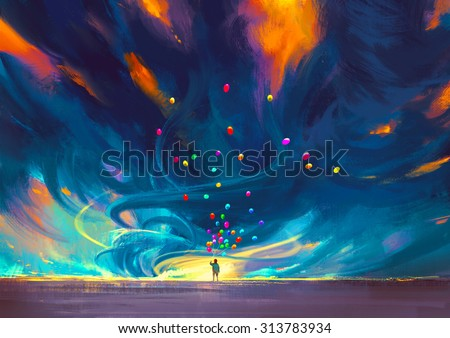 child holding balloons standing in front of fantasy storm,illustration painting - stock photo