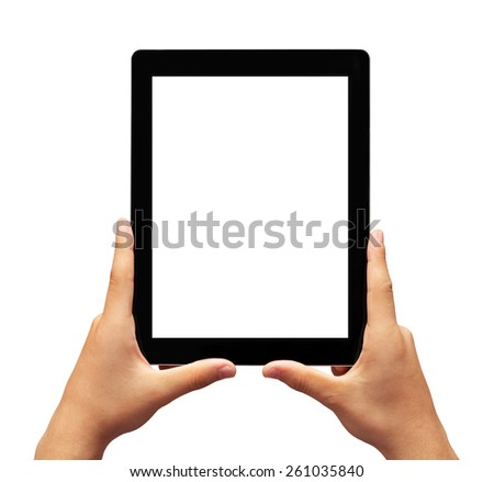 Child Holding Black Digital Tablet.(Clipping path) - stock photo