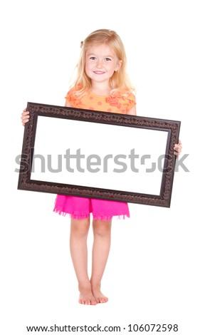 Child holding blank frame, isolated on white - stock photo