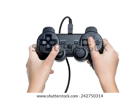 child holding gaming controller isolated white background - stock photo