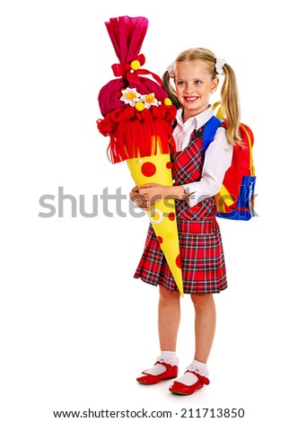 Child holding gift school cone. Isolated. - stock photo