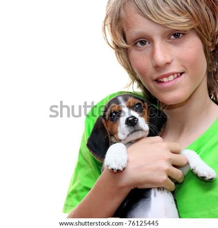 child holding, pet beagle puppy dog - stock photo