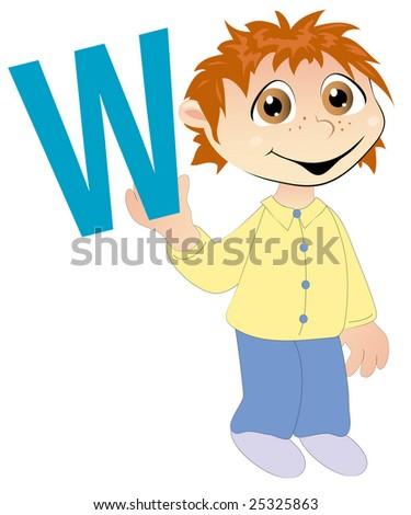 Child holding the letter W