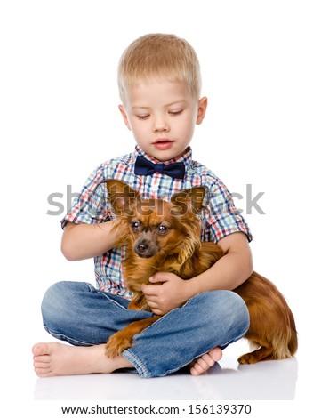 child hugging a dog. isolated on white background - stock photo