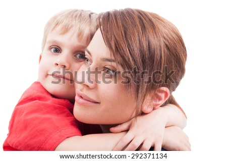 Child hugging his mother isolated on white background - stock photo