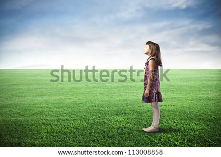 Child in a large grace field - stock photo