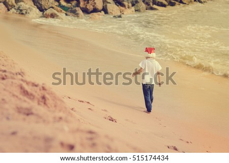 Child in Christmas Santa Claus hat on ocean tropical sandy beach seasonal travel vacation, blue sky background outdoors. Back side view