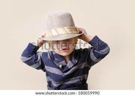 Child in fedora fat, fashion or clothing concept - stock photo