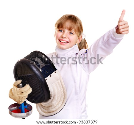 Child in fencing costume holding epee thumb up. Isolated. - stock photo
