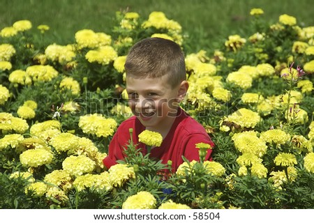 Child in Flower Patch