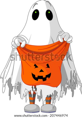 Child  in ghost costume trick or treating. Raster version.    - stock photo