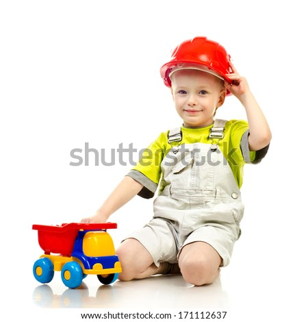 child in helmet isolated on a white background