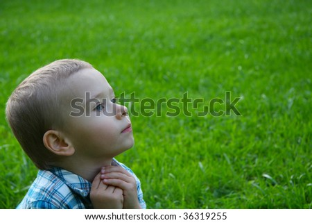 Child in nature. Cute face - stock photo