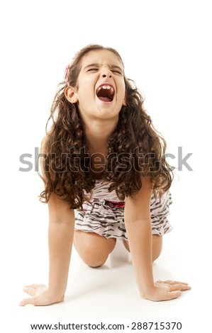 Child in the floor screaming . - stock photo