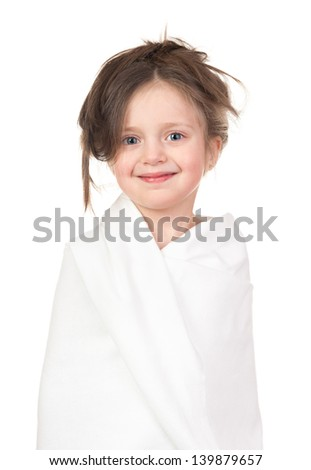 child in white towel isolated