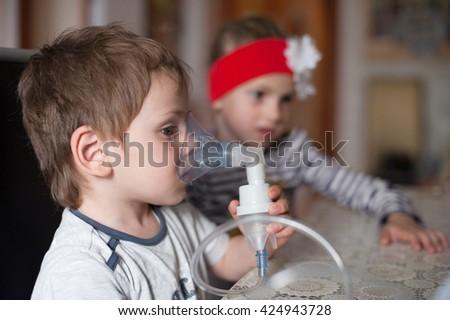 child, inhalation, healthcare, medicine, asthma, disease prevention, virus, epidemic - stock photo