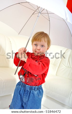 Child is grimacing with umbrella