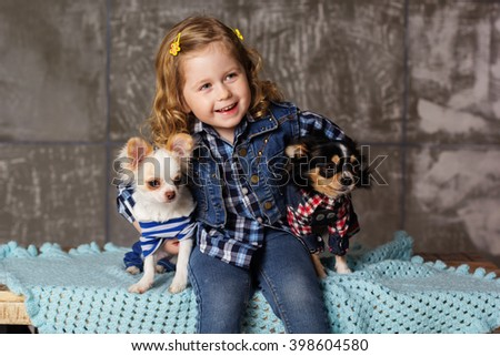 Child is holding two small chuhuahua dogs - stock photo