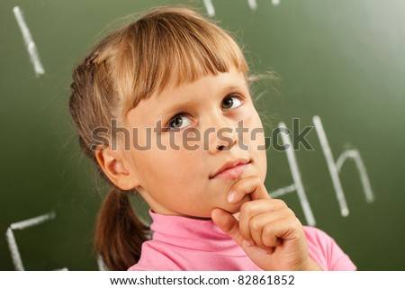 child is learning conversational English - stock photo