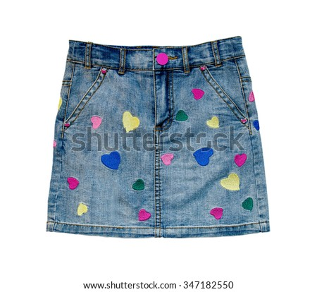 Child jeans skirt close up isolated on white background. - stock photo