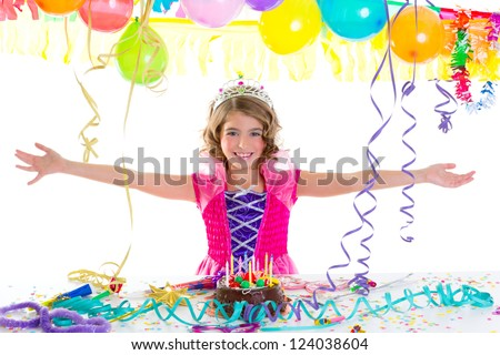 child kid crown princess in birthday party happy gesture and chocolate cake - stock photo