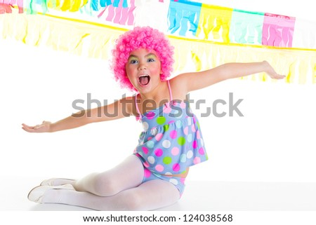 child kid girl with party clown pink wig funny happy open arms expression and garlands - stock photo