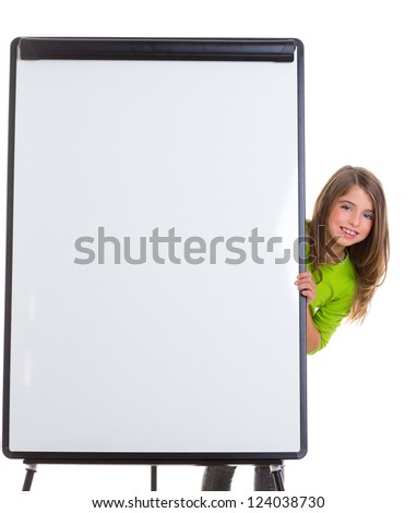 child kid happy girl with blank flip chart white copy space smiling - stock photo