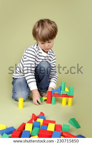 Child, kid, playing with building blocks