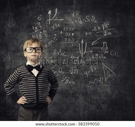 Child Learning Mathematics, Children Education, Student Kid Learn Math - stock photo