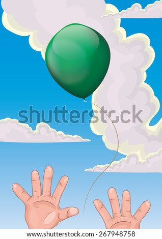 Child letting a balloon go, This is a funny illustration of a child letting there green balloon float away. - stock photo