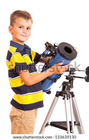 Child Looking Into Telescope Star Gazing Little Boy isolated on a white background - stock photo