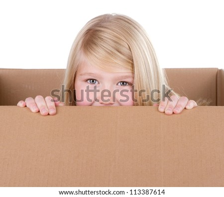 Child looking out of a box, with white background